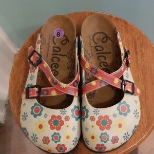 Calceo mules or clogs 8 flowers